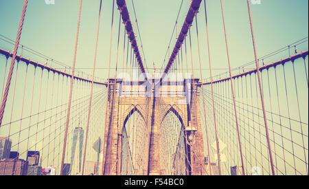 Vintage photo aux couleurs du pont de Brooklyn, New York, USA. Banque D'Images