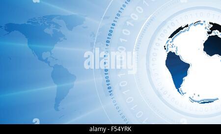 Arrière-plan de la technologie avec le système binaire et code globe. Conception vectorielle Banque D'Images