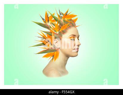 Portrait floral vert Banque D'Images