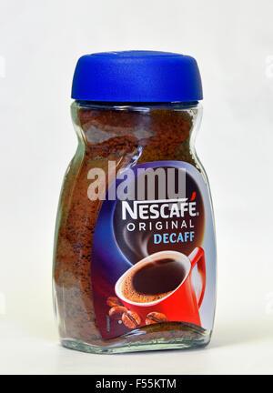 Pot de café instantané Nescafé Decaff Original. Banque D'Images