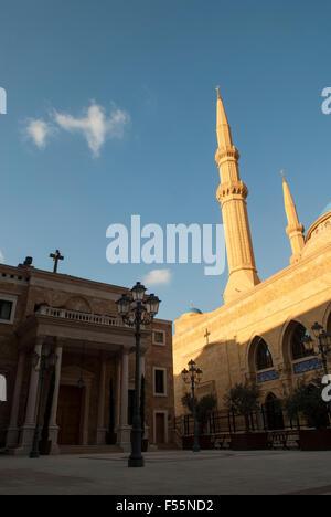 Mohammed Al Amin Mosque et Saint George cathédrale maronite de Beyrouth Liban Banque D'Images