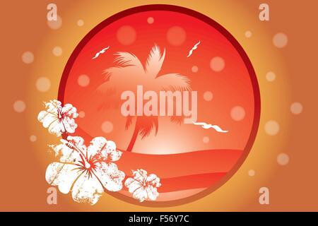Concept tropical avec des palmiers et des mouettes dans diverses couleurs orange - vector illustration Banque D'Images