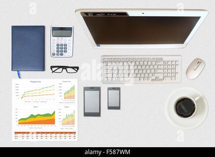 Droit d'entreprise et rapport financier sur bureau gris Banque D'Images
