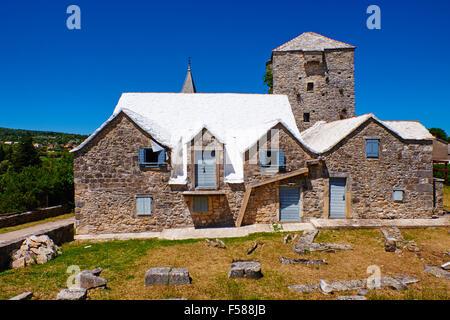 La Croatie, Kvarner, île de Brac, stuck in the Middle (single), ancien village Banque D'Images
