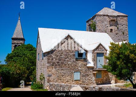 La Croatie Dalmatie île de Brac stuck in the Middle (single) ancien village Banque D'Images