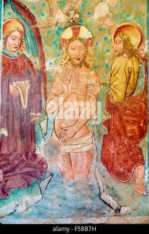 La Croatie, la côte Adriatique, l'Istrie, Beram, fresques de l'église de St Mary, le baptême dans la rivière Jordan Banque D'Images