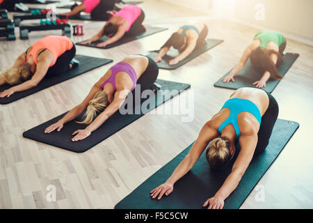 Sport, Fitness, yoga, formation et personnes concept - smiling woman doing exercise in gym Banque D'Images