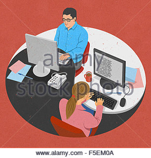 Businessman and businesswoman working together Yin Yang partage 24 Banque D'Images