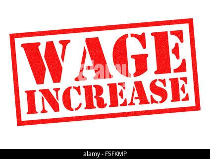 Augmentation salariale de tampon en caoutchouc rouge sur un fond blanc. Banque D'Images