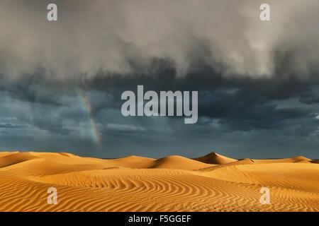 Les dunes de sable du Sahara avec orageux, ciel nuageux et arc-en-ciel.