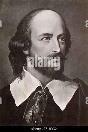 Portrait du poète et dramaturge anglais William Shakespeare Banque D'Images