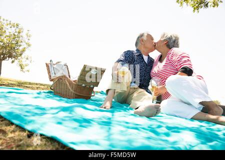 Senior couple sitting on picnic blanket, kissing Banque D'Images