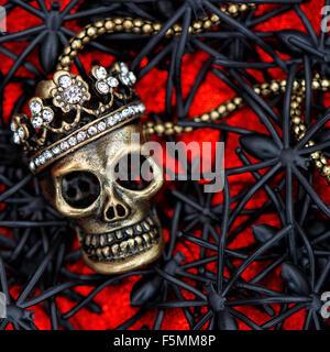 Crâne avec black spider et ponderosa décoration. Fond d'Halloween