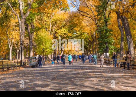 NEW YORK - 30 octobre 2015: l'automne vue sur la promenade littéraire Mall at Central Park à Manhattan, avec personnes Banque D'Images