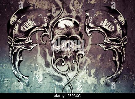 L'art du tatouage, 3 crânes sur fond gris, Sketch Banque D'Images