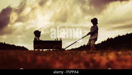 Deux frères mignon à jouer avec le chariot en bois Banque D'Images