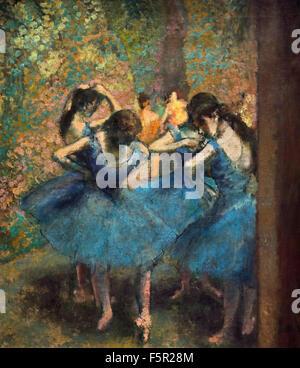 Edgar Degas 1834-1917 France Bleu Français danseurs. c.1890.