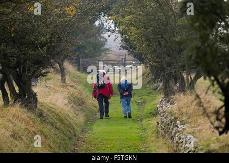 Un homme âgé et une femme marchant le long d'un sentier au-dessus de l'Snailbeach Stiperstones, Shropshire. Banque D'Images