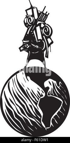 Woodcut style image de l'homme exerçant son activité sous tous ses biens sur son dos à cheval sur un globe Banque D'Images
