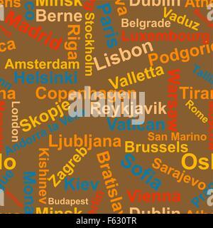 Origines des noms des capitales d'Europe.Vector Banque D'Images