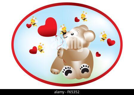 La tenue de l'ours et les abeilles de ballon en forme de coeur avec des coeurs Banque D'Images