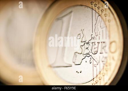 Détail d'une pièce de monnaie € Banque D'Images
