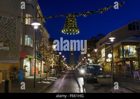 Le temps de Noël à Reykjavik, Islande Banque D'Images