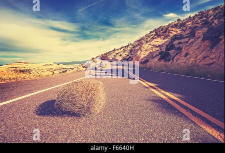 Tumbleweed tons Vintage sur la route vide, travel concept photo. Banque D'Images