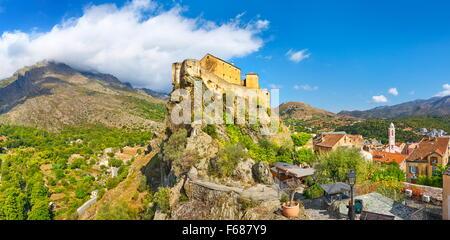 Corte, la citadelle de la vieille ville, Corse, France Banque D'Images