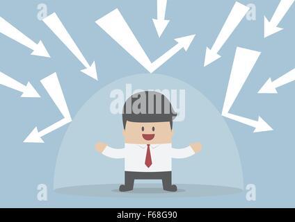 Homme d'affaires à l'abri de la mauvaise chose par le bouclier invisible, VECTOR, EPS10 Banque D'Images
