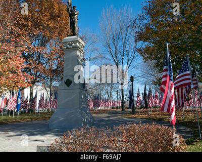 Un monument à la guerre civile entre les soldats des drapeaux Journée des anciens combattants. Civil War Memorial Banque D'Images