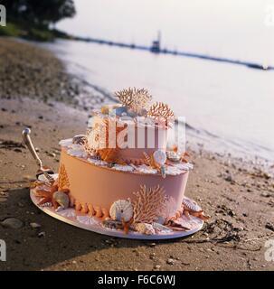 Gâteau de mariage sur le thème de plage sur le sable au bord de l'eau Banque D'Images