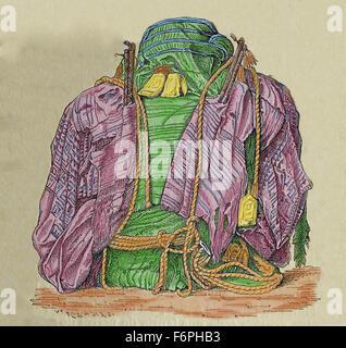 L'Amérique du Sud. Momie péruvienne bt textile W. Reiss (1838-1908) et A. Stubel (1835-1904). Nécropole d'Ancon. Banque D'Images