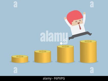 Happy businessman jumping sur l'étape de l'argent, vecteur, EPS10 Banque D'Images