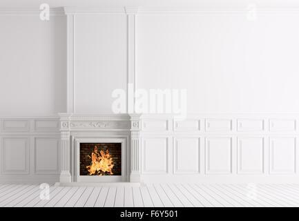 De l'intérieur classique blanc vide chambre avec cheminée en marbre de rendu 3D Banque D'Images