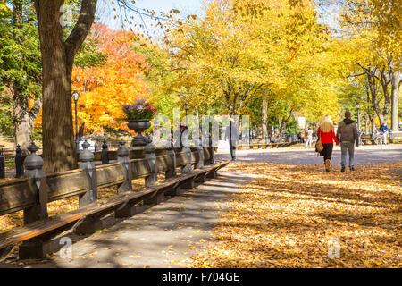 Voir l'automne de la promenade littéraire Mall at Central Park à Manhattan, avec personnes visibles. Banque D'Images
