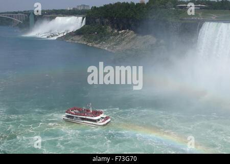 Les chutes canadiennes. Horseshoe Falls. Bateau de tourisme de Hornblower avec arc-en-ciel. American Falls dans Banque D'Images