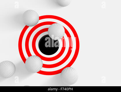 Conceptual image 3D avec des balles de golf et le trou Banque D'Images
