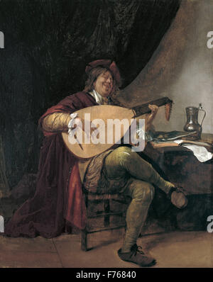 Jan Steen - Self Portrait jouant le Luth Banque D'Images