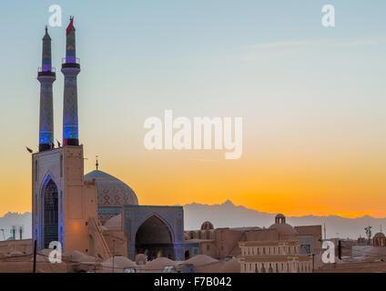 Mosquée Jameh ou Mosquée du Vendredi, la province de Yazd Yazd, Iran, Banque D'Images