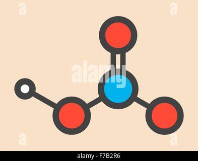 L'acide nitrique (HNO3) molécule d'acide minéral fort. Utilisé dans la production des engrais et des explosifs. Banque D'Images