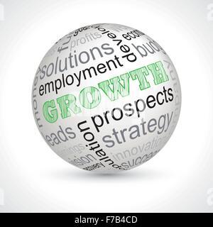 Thème croissance sphère avec mots-clés vecteur complet Banque D'Images