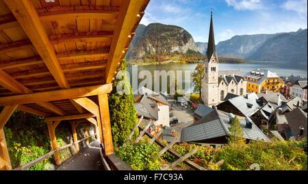 Autriche - Hallstatt Salzkammergut, village de montagne, Alpes autrichiennes, l'UNESCO Banque D'Images