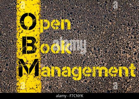 Notion de droit de l'entreprise de comptabilité de gestion à livre ouvert OBM Acronyme écrit plus de signalisation de la ligne de peinture jaune.