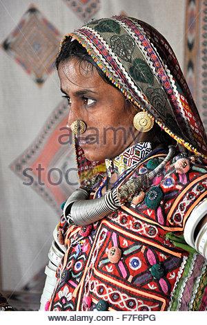 ,Gujarat Rann de Kutch,femme,tribu Mengal Banque D'Images