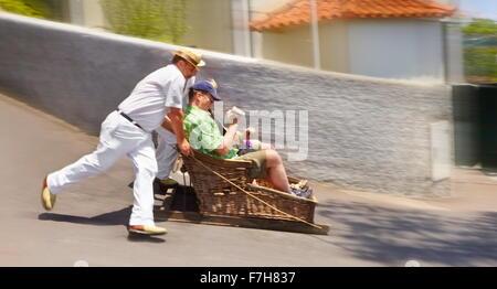 La piste de luge (luge), Monte, l'île de Madère, Portugal Banque D'Images