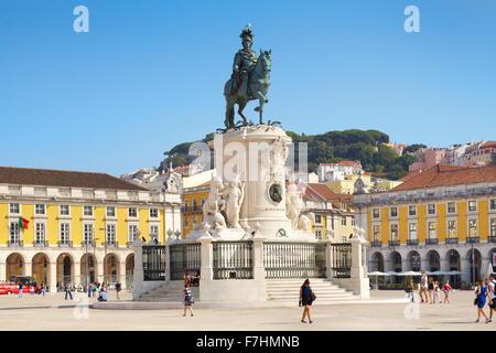 Place du Commerce (Praça do Comercio), monument du roi José I, Lisbonne, Portugal Banque D'Images