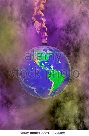 Concept illustration des émissions de gaz à effet de serre entraînant un réchauffement global, le changement climatique, Banque D'Images