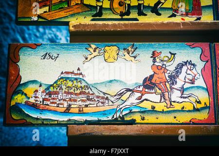 Panneaux de ruche, la Slovénie. Des copies des originaux sont un élément de souvenir avec les visiteurs. A l'origine, Banque D'Images
