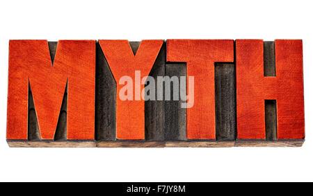 Mythe - mots isolés dans la typographie vintage type bois taché par l'encre rouge Banque D'Images